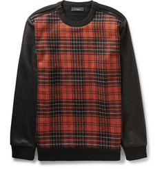Givenchy Leather-Sleeved Checked Wool-Blend and Cotton-Jersey Sweatshirt