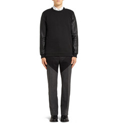 Givenchy Leather-Sleeved Cotton Sweater