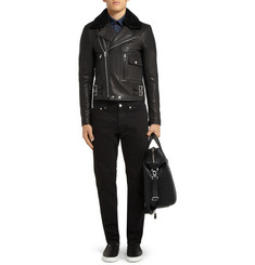 Givenchy Shearling-Trimmed Leather Biker Jacket