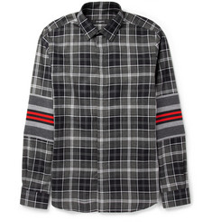 Givenchy Contrast-Panelled Checked Cotton Shirt