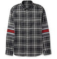 Givenchy - Contrast-Panelled Checked Cotton Shirt