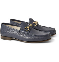 Gucci - Horsebit Grained-Leather Loafers