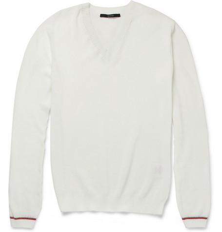 Gucci Knitted Cotton-Piqué V-Neck Sweater
