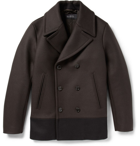 Gucci Panelled Quilted Wool Peacoat