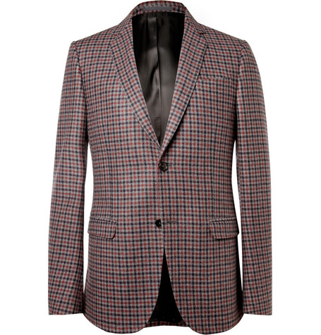 Gucci Slim-Fit Check Cashmere Blazer