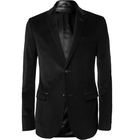 Gucci Slim-Fit Leather-Collar Corduroy Blazer