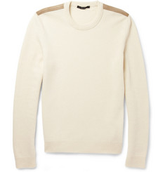 Gucci Suede-Trimmed Wool and Cashmere-Blend Sweater