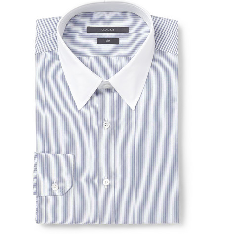 Gucci Navy Slim-Fit Contrast-Collar Striped Cotton Shirt