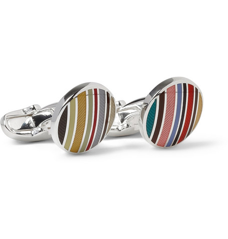 Paul Smith Shoes & Accessories Striped Enamelled Sterling Silver Cufflinks