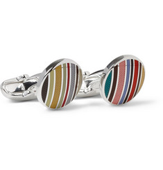 Paul Smith Shoes & Accessories Striped Enamelled Silver Cufflinks