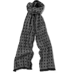 Paul Smith Shoes & Accessories Spot-Patterned Silk and Cotton-Blend Scarf