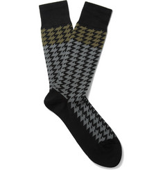Paul Smith Shoes & Accessories Houndstooth Cotton-Blend Socks