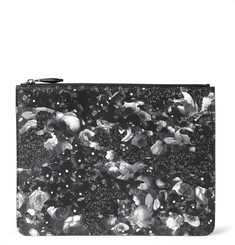 Givenchy Camo Flower-Print Leather Pouch