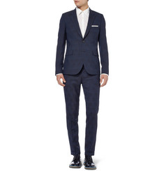 Paul Smith Navy Slim-Fit Shadow Check Woven Suit Trousers