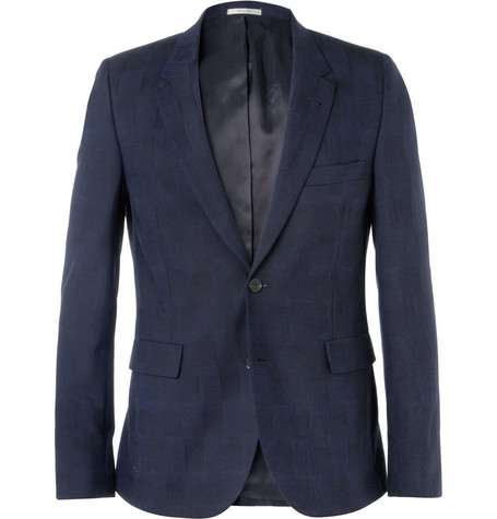 Paul Smith Navy Slim-Fit Shadow Check Woven Suit Jacket