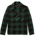 Lanvin Slim-Fit Check Wool-Blend Peacoat
