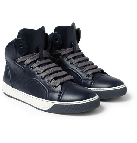 Lanvin Leather High Top Sneakers