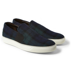 Lanvin Check Cotton Slip-On Sneakers