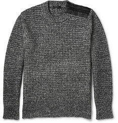 Belstaff Corsley Leather-Trimmed Mélange Cotton and Wool-Blend Sweater