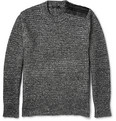 Belstaff - Corsley Leather-Trimmed Mélange Cotton and Wool-Blend Sweater