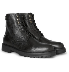 Belstaff Barrington Pebble-Grain Leather Lace-Up Boots