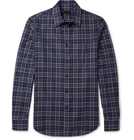 Alexander McQueen Frayed Plaid Cotton Shirt