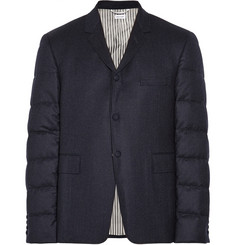 Thom Browne Quilted-Sleeve Wool-Flannel Blazer