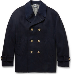 Thom Browne Double-Breasted Cashmere-Trimmed Wool Peacoat