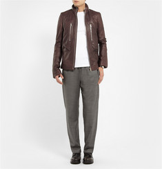 Rick Owens Hooded Leather Bomber Jacket
