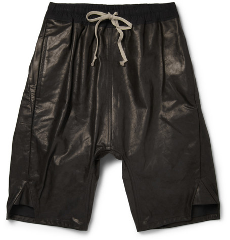 Rick Owens Drop Crotch Leather Shorts