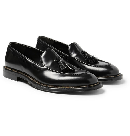 Alexander McQueen Chain-Trimmed Glossed-Leather Loafers