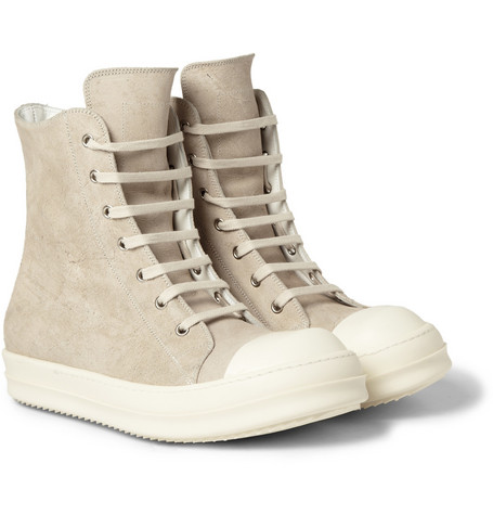 Rick Owens Ramones Treated-Leather Sneakers