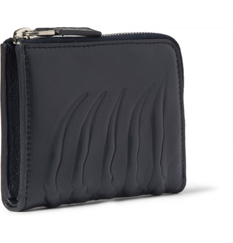 Alexander McQueen Embossed Leather Half-Zip Wallet