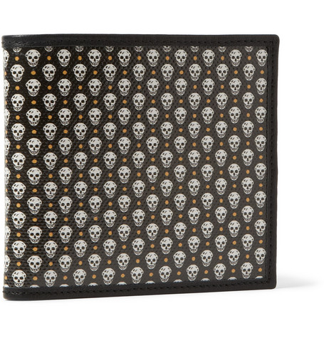 Alexander McQueen Leather and Printed Coated-Canvas Billfold Wallet