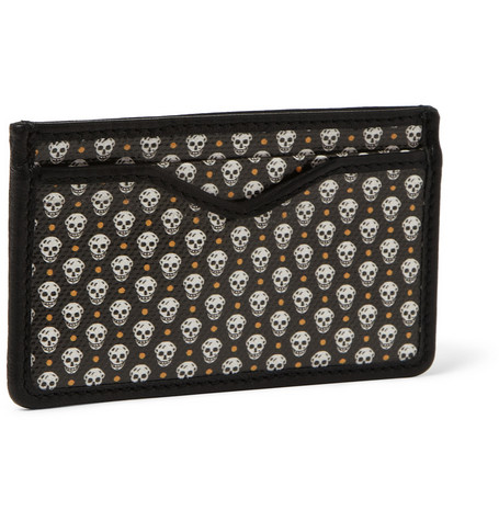 Alexander McQueen Skull-Print Canvas and Leather Cardholder