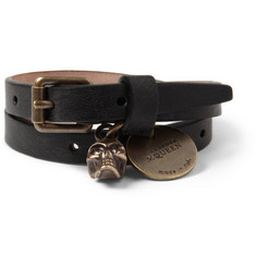 Alexander McQueen Leather Wrap Bracelet with Skull