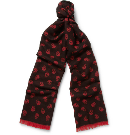 Alexander McQueen Skull-Patterned Wool and Silk-Blend Scarf