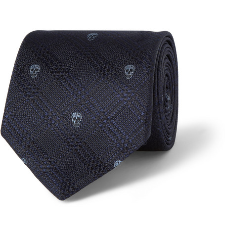 Alexander McQueen Skull and Check-Patterned Silk Tie