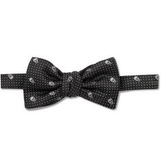 Alexander McQueen Skull-Embroidered Silk Bow Tie