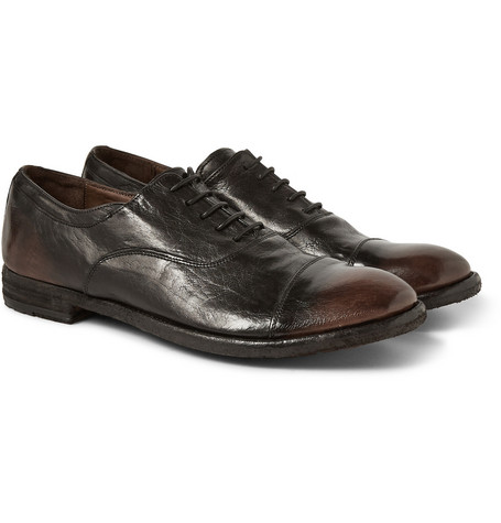 Officine Creative Burnished-Leather Oxford Shoes