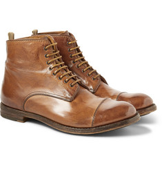Officine Creative Polished Lace-Up Leather Boots