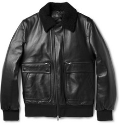 Neil Barrett Shearling-Collar Leather Aviator Jacket