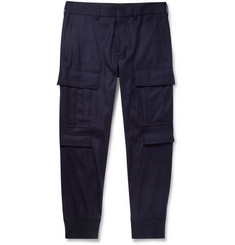 Neil Barrett Tapered Wool-Blend Flannel Cargo Trousers