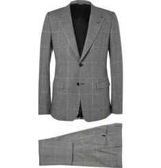 Dolce & Gabbana Grey Slim-Fit Prince of Wales Check Wool-Blend Three-Piece Suit