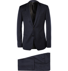 Dolce & Gabbana Navy Three-Piece Jacquard Wool Suit