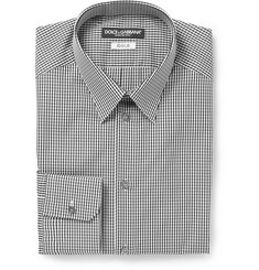 Dolce & Gabbana Gold-Fit Gingham-Check Cotton Shirt