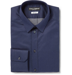 Dolce & Gabbana Blue Gold-Fit Spotted Cotton Shirt