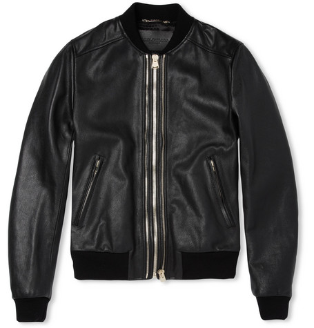 Dolce & Gabbana Full-Grain Leather Bomber Jacket