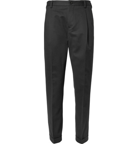 Dolce & Gabbana Cropped Pleated Cotton-Twill Trousers
