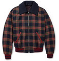 Dolce & Gabbana - Leather-Trimmed Check Wool Bomber Jacket